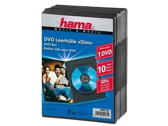 HAMA DVD-Box Slim Svart  10-pack