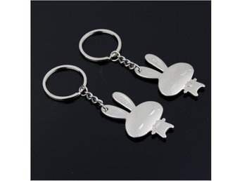 He&She Pair of Rabbit Keychain Set för Lovers
