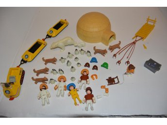 Playmobil Igloo, figurer, djur, skoter m.m.