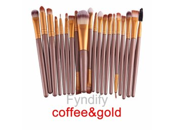 20st Sminkborstar Makeup brush set Coffee & Gold
