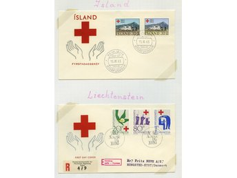 LOT T3637 RED CROSS - RÖDA KORSET   / TVÅ ILLUSTRERADE  BREV.