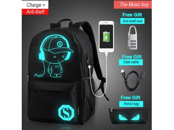 Anti-Theft Backpack Luminous Music Boy USB Travel Bag Svart