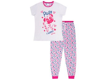 Girl's Cute Pugs and Kisses Long Pajamas Girl Teenage Animal Pjs Dog Pajama