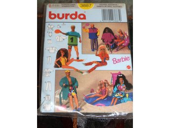 Oöppnat 80-90tal Barbie symönster Burda 3887, Barbie Ken