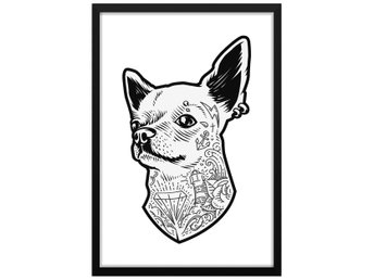 Affisch Poster Tatuerad Chihuahua Hund 33x48