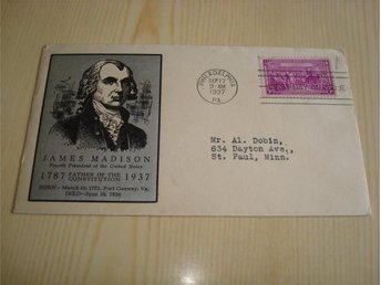 John Madison Father of the Constitution 1787-1937 USA förstadagsbrev FDC