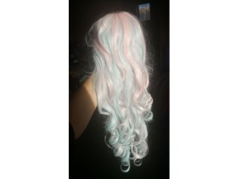 GLW (gothic lolita wigs) Long Curly Lolita - Powder Pink & Blue Blend
