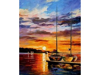 The Dock Leonid Afremov Olja på Duk Oil Painting Print Canvas