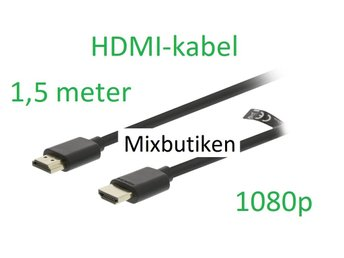HDMI-kabel 1,5m version 1.4 1080p. 1,5 meter guldpläterad High Speed m. Ethernet