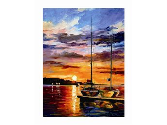 Sail Boats at Sunset Abstract Oil on Canvas Olja på Duk