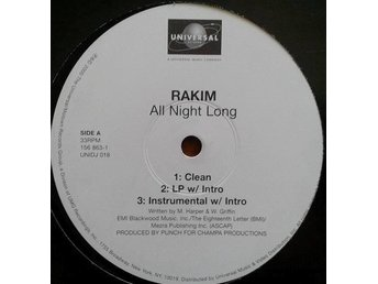 "Rakim title* All Night Long* Hip-Hop 12"" US"