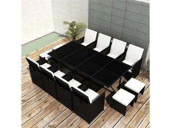 Trädgårdsgrupp Poly Rattan svart Smart 8 stolar 4 pallar och bord - Am Venray - Trädgårdsgrupp Poly Rattan svart Smart 8 stolar 4 pallar och bord - Am Venray