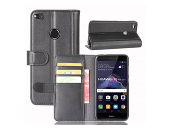 Huawei Honor 8 Lite genuine split leather flip case - Black