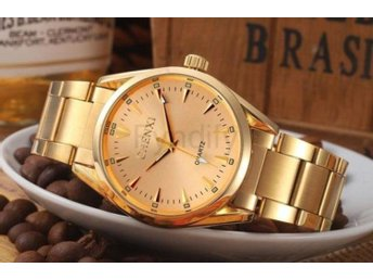 Klocka Herr New Gold Watch Men Luxury Gold Dial