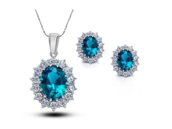 Classic Oval Cut Ocean Blue Cubic Zircon Halo Pendant Necklace &Earring S1409