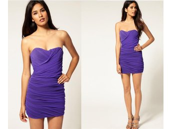 Rare Cut Out Mesh Tube Dress ASOS Fodral Sweetheart Lila Purple Bodycon