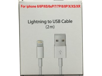 2m iPhone Laddare Kabel Kablar Cable till iPhone 5/5s/6s/6+/7/7+/8/8 Plus+/X