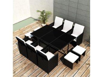 Trädgårdsgrupp Poly Rattan svart Smart 6 stolar 4 pallar och bord - Am Venray - Trädgårdsgrupp Poly Rattan svart Smart 6 stolar 4 pallar och bord - Am Venray
