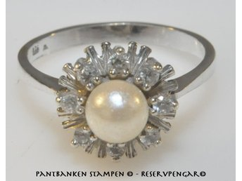 silverring med pärla
