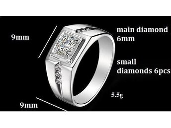 Fashion 18K VitGuld Plated Silver CZ diamond wedding Rings uni Vintage Jewelry