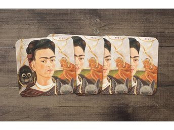 Frida Kahlo Self Portrait With Small Monkey Coasters 4 Pack Underlägg Underlag