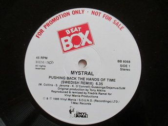 "Beat Box promo 12"" maxi: MYSTRAL - PUSHING BACK THE HANDS OF TIME (Swe remix)"