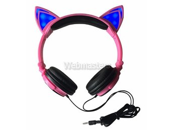 Hörlurar Over-Ear 3.5mm Katt - Rosa