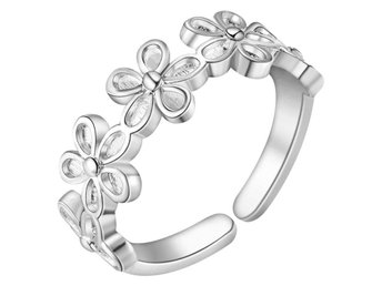HELT NYTT!! RING Adjustable  Female 925 Silver Ring Flower Ring Jewelry