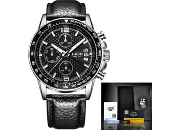 Klocka Herr New LIGE Reloj Hombre Men leather black