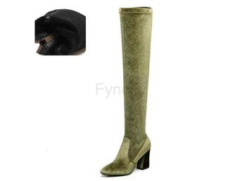 Dam Boots Winter Boots Over The Knee Boots green velvet 34