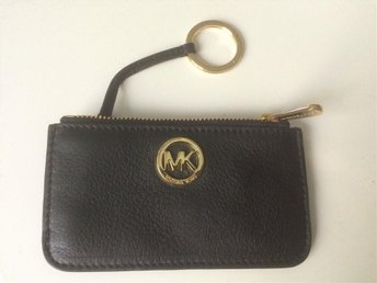Michael Kors Fulton Key Pouch Leather Wallet i svart och guld