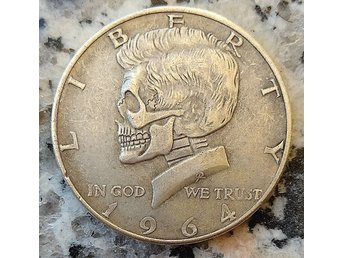 USA .  Halv dollar Kennedy . skull  . Novelty