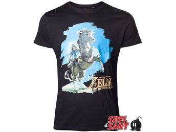 Nintendo Zelda Breath of the Wild Link Rider T-Shirt Svart (X-Large)