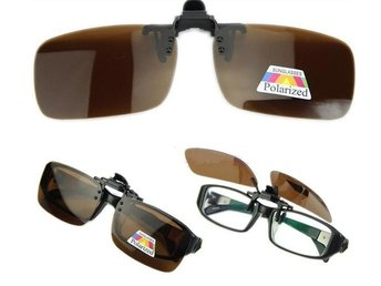 Polarized Day Night Vision Clip-on Flip-up Lens Glasses Brown
