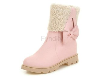 Dam Boots Bowknot Height Increasing Winter Botas Pink 34