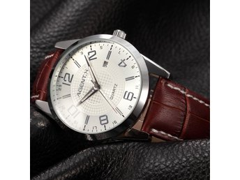 AgentX Brown Leather Band White Quartz Date Analog Men's Wrist Watch