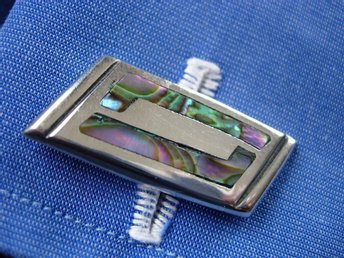 1950's Beto Taxco Sterling Silver Cufflinks with Rainbow Abalone Inlays