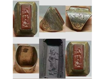 Lågt utrop!!Antik Near Eastern Rare Old Old Agate intaglio sten Silver Ring