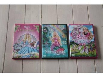 DVD-Filmer Barbie 3 st - Skånes-fagerhult - DVD-Filmer 3 stycken Barbie , ok skick lite repiga skivor men fungerade sist vår tjej tittade på dem . Katt och hund i hemmet ! - Skånes-fagerhult
