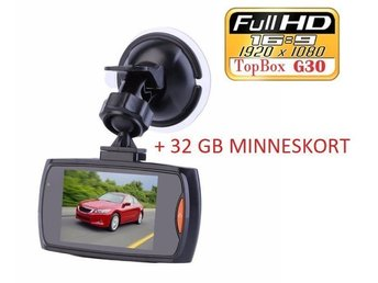 Bilkamera Car DVR G30 Recorder DashCam Full HD 1920x1080 Svart PLUS 32GB SD-CARD