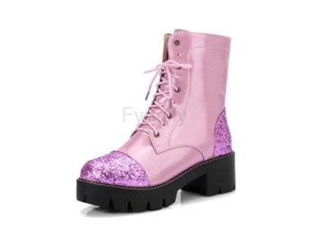 Dam Boots Short Booties New Botas Feminips Punk pink fur 34