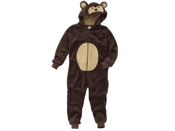 Animal Crazy Monkey Onesey Onezi Boy Child Fleece Hooded Novelty Jumpsuit Brown