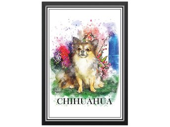 Affisch Poster Chihuahua Hund Hundras Text Målning 33x48