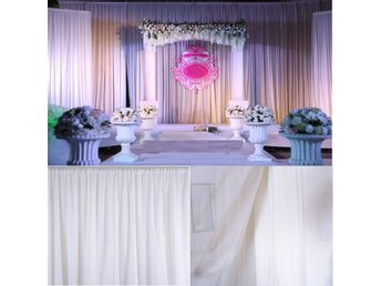 White Sheer Silk Drapes Panels Hanging Curtains Backdrop ...