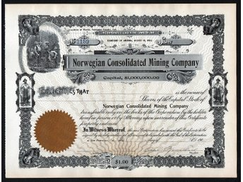 Javascript är inaktiverat. - Oakville, Ontario, Canada - Norwegian Consolidated Mining Company. Dated at San Francisco, Cal., 190_, No. 1159, incorporated under the laws of the Territory of Arizona. Unissued and uncancelled, certificate is in very good condition. 21 x 28 cm. Please n - Oakville, Ontario, Canada