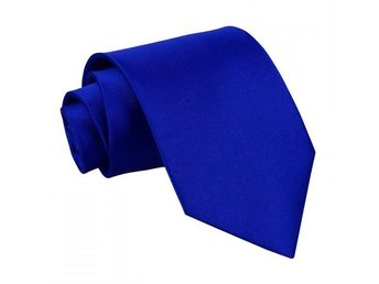 Blå (Royal Blue) satin slips _ Regular