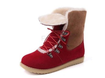 Dam Boots For Women Cross Tied Flat Winter Botas Red 34