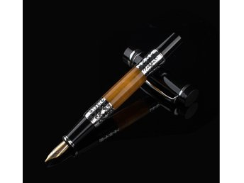 2 st Luxury Writing Pens Black-Orange Silver Flower Amber