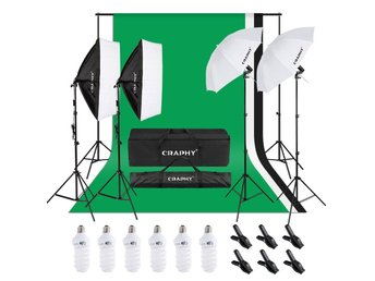 1,8 x 2.8M Bakgrund green screen Fotostudio kit studioset lampa softbox E27 ljus