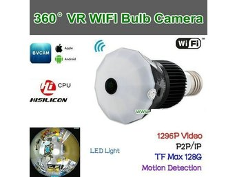 WIFI VR-lampkamera, 360Camera, 5,0 MP CMOS, 1296P / Video, P2P / IP / WIFI